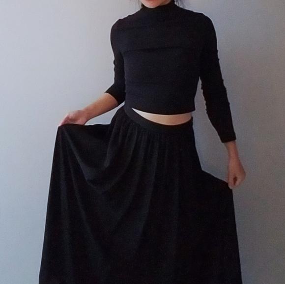 Long Black Silky Chiffon Maxi Skirt Dress Hi Rise
